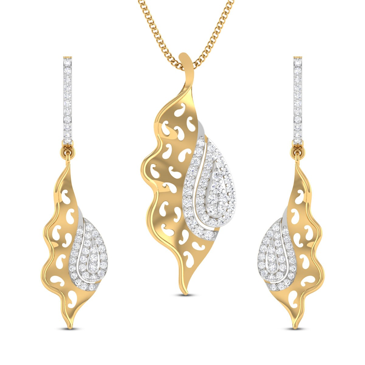 Hiya Paisley Diamond Pendant Set