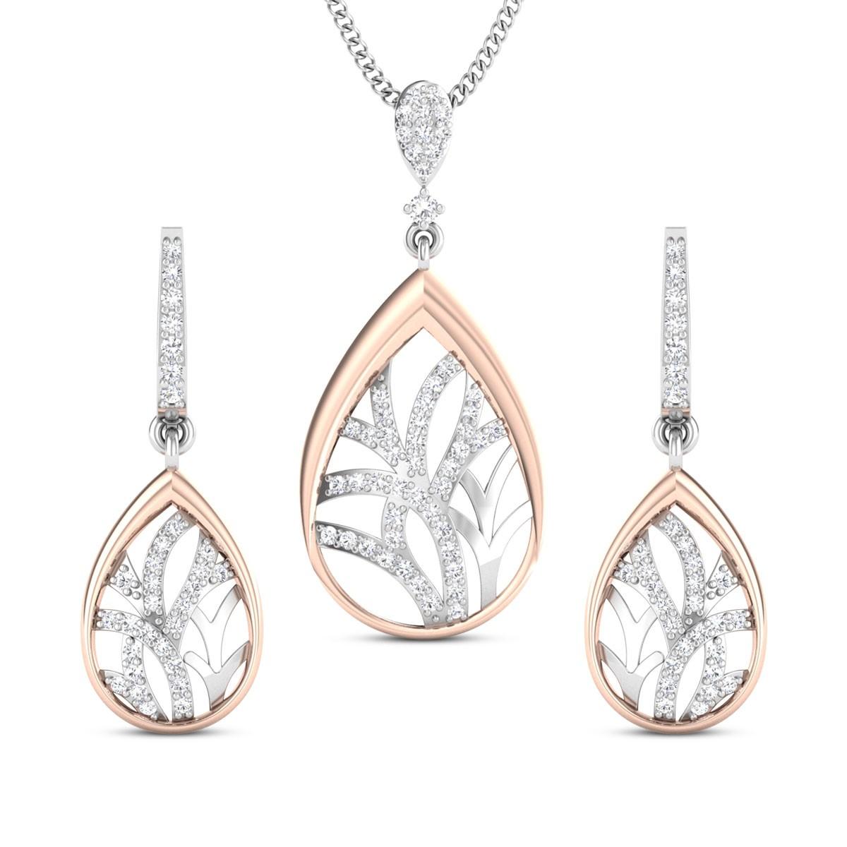 Madhuri Two Tone Diamond Pendant Set