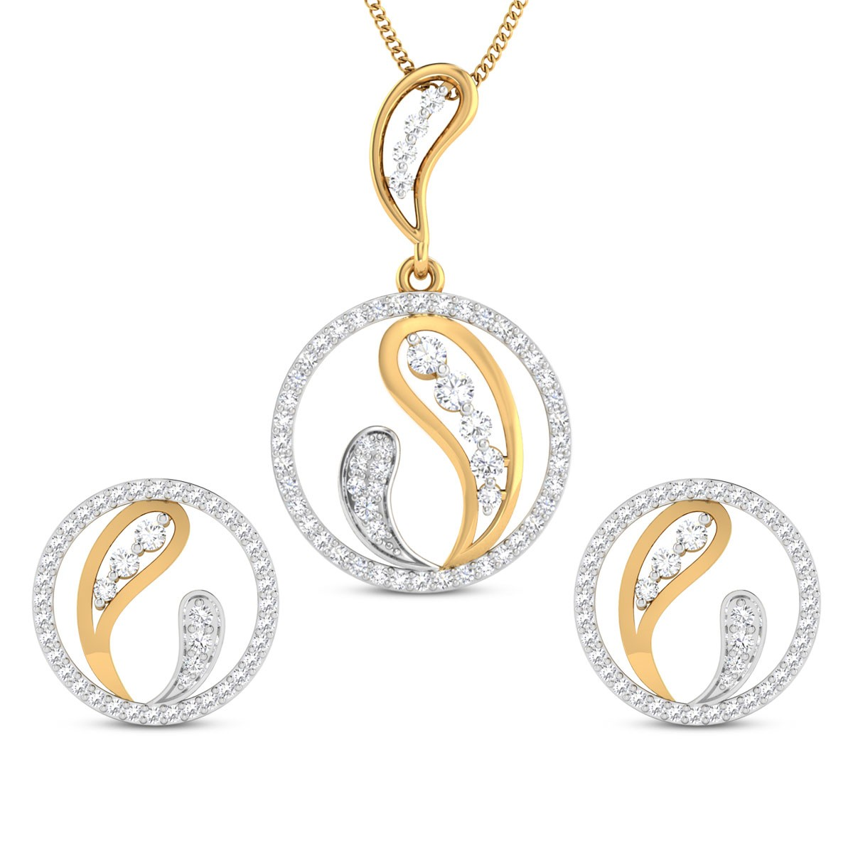 Mirai Circular Diamond Pendant Set