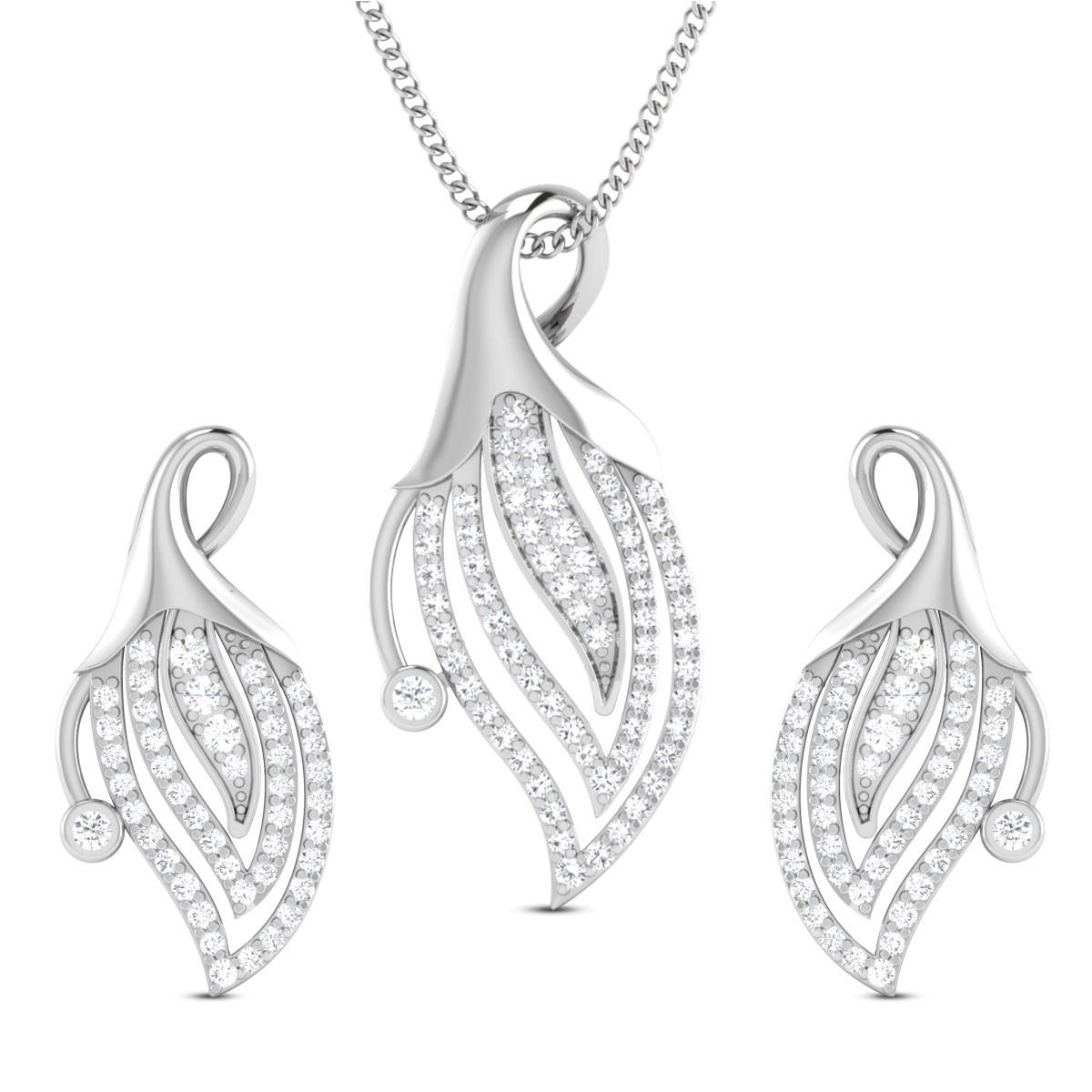 Floral Bud Diamond Pendant Set