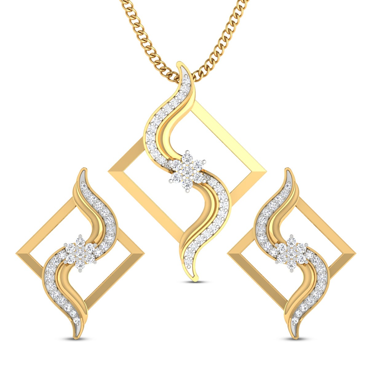 Ruhi Floral Diamond Pendant Set