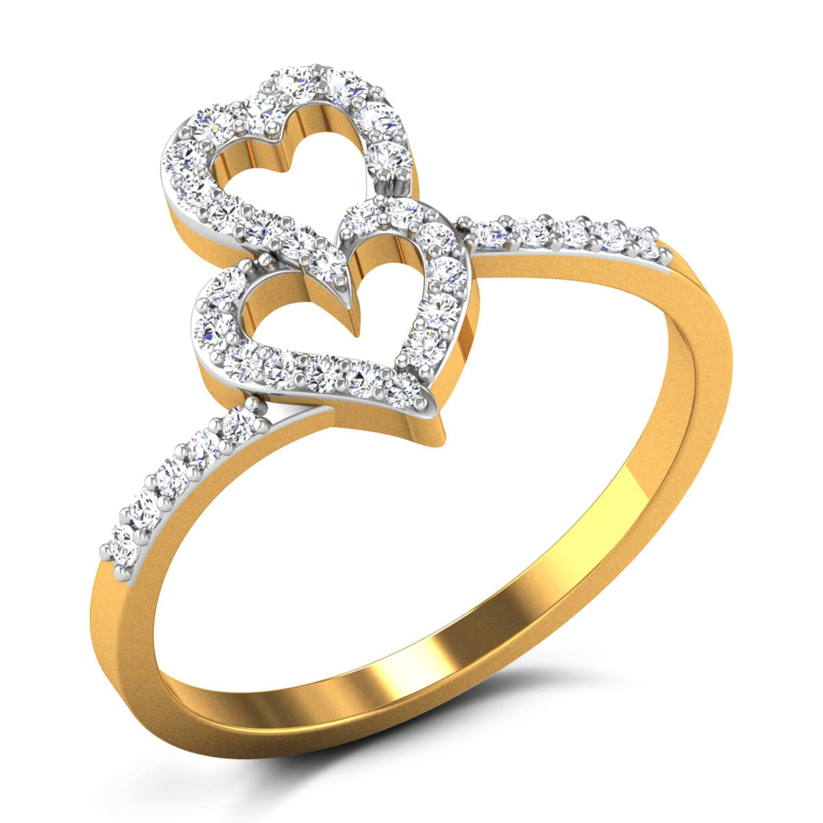 Buy Rowena Fused Hearts Diamond Ring in 2.62 Grams Gold Online