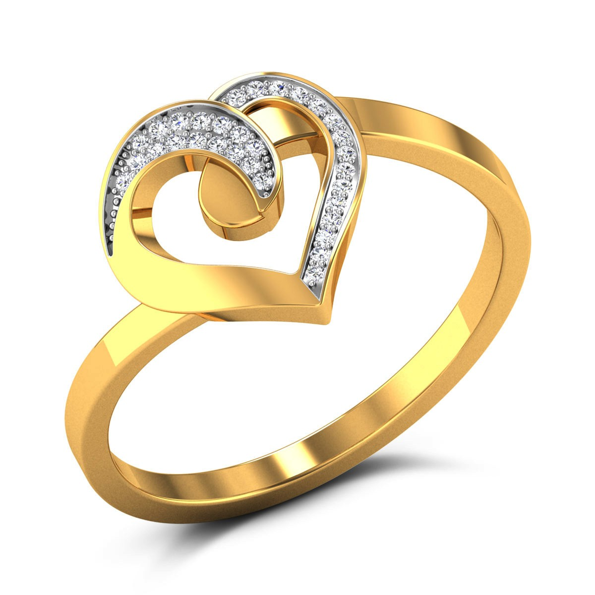 Buy Petina Aswirl Hearts Diamond Ring in 3.65 Grams Gold Online
