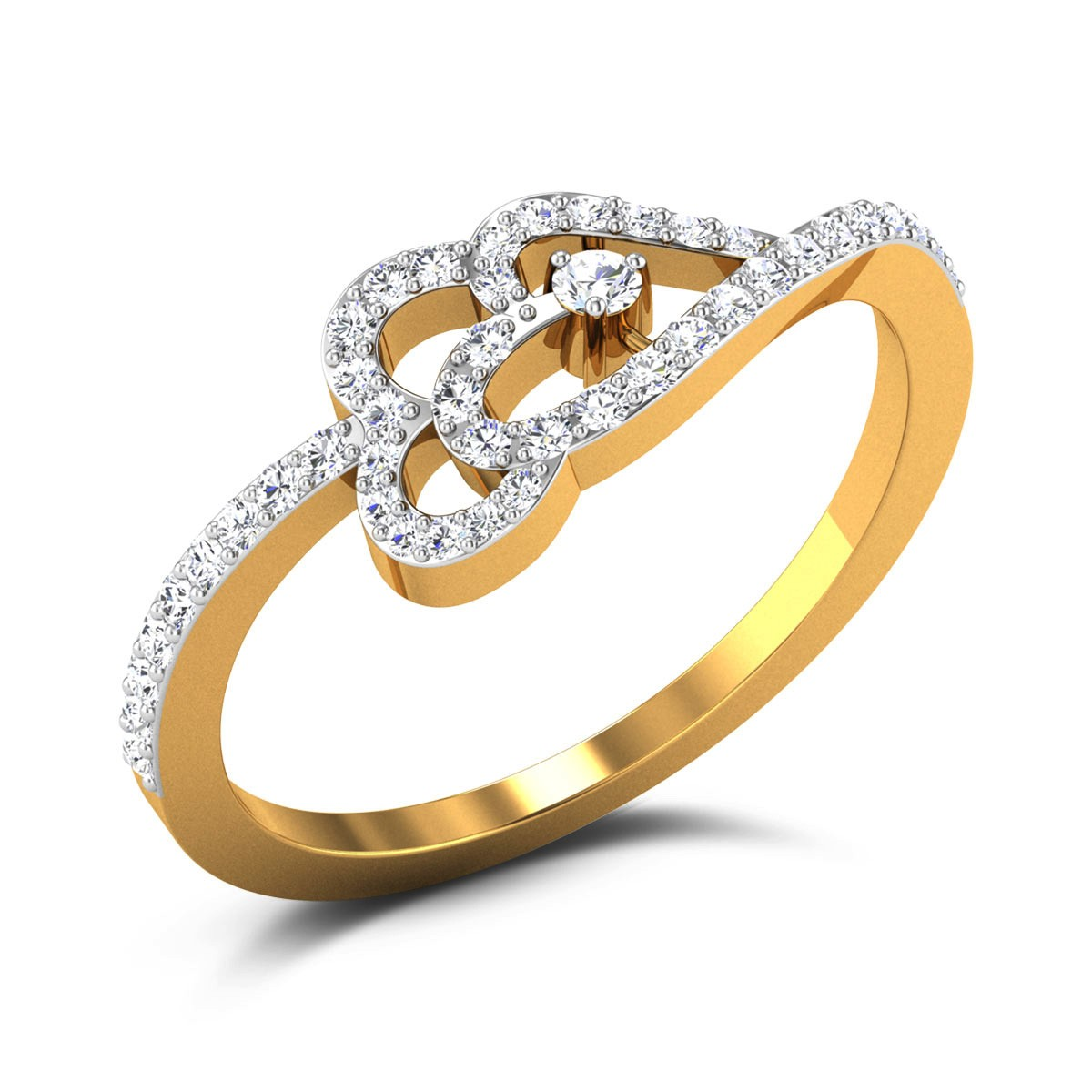 Buy Shania Hearts Diamond Ring in 1.9 Grams Gold Online