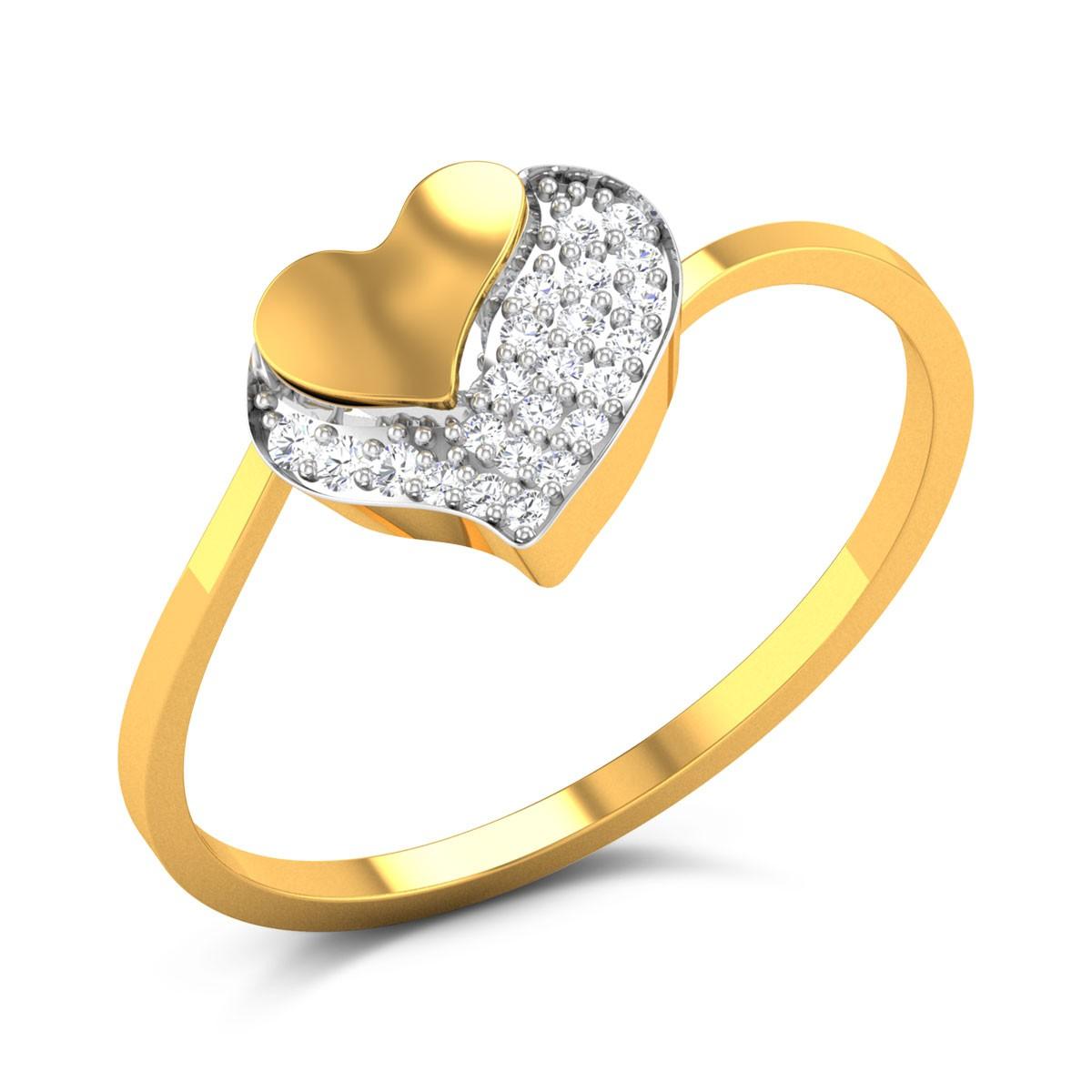 Amalia Dual Heart Diamond Studded Ring