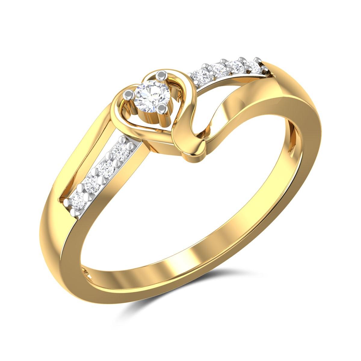 Amber Heart Diamond Ring