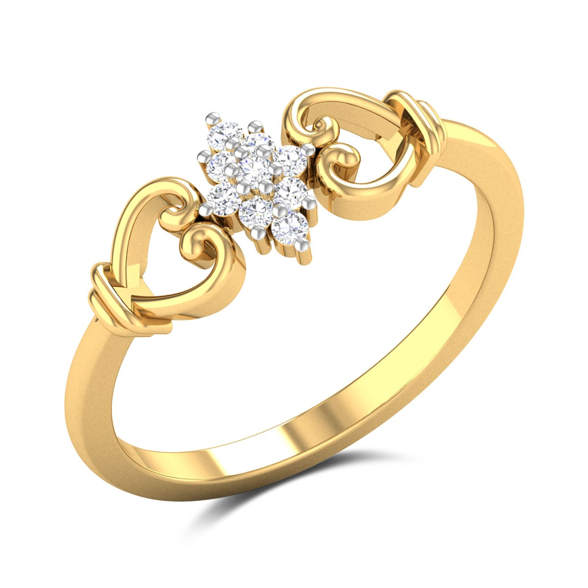 Buy Lucy 9 Stone Diamond Engagement Ring in 1.88 Gms Gold Online
