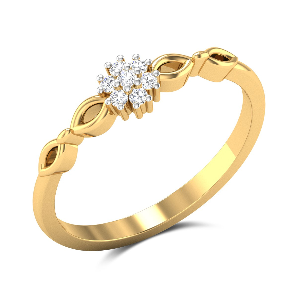 Meriel Diamond Studded Gold Ring DJRN5282