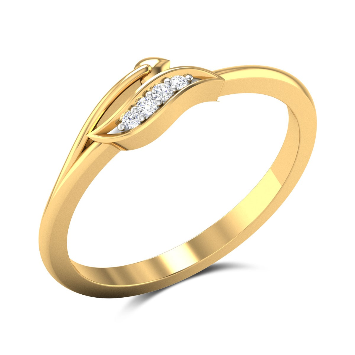 Oliva Diamond Studded Gold Ring DJRN5286