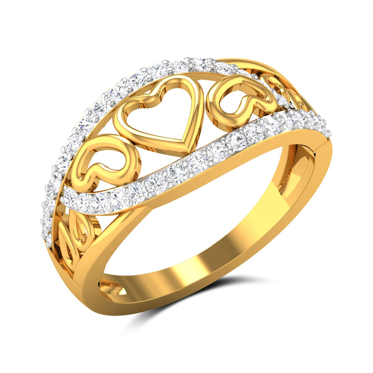 Aakarshika Diamond Heart Band Ring