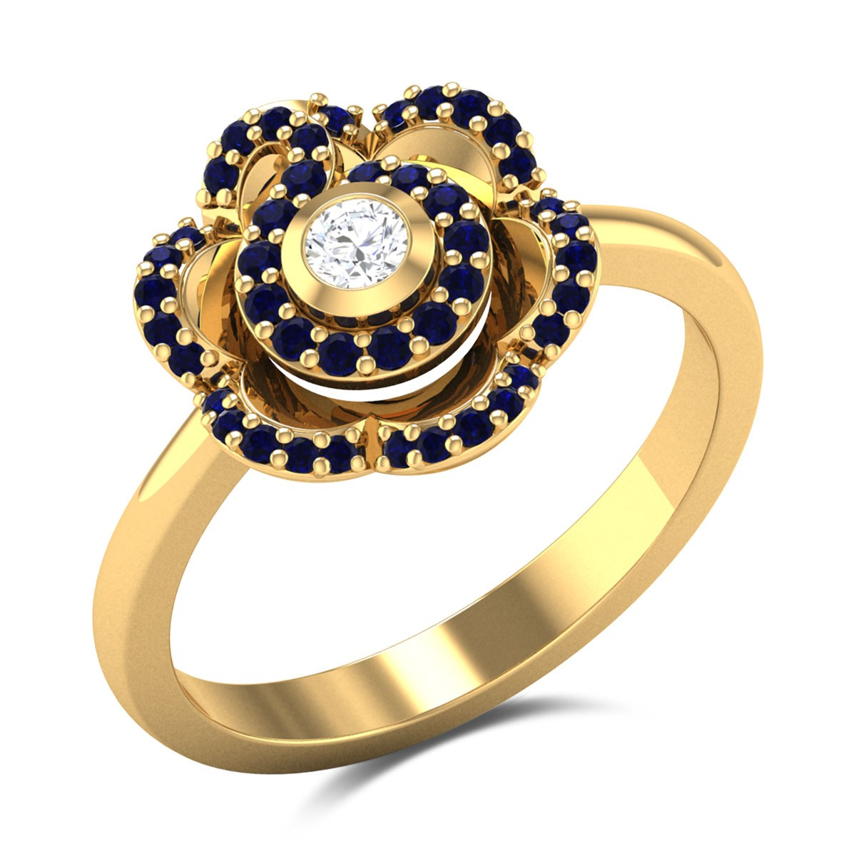Sapphire Carnation Diamond Ring