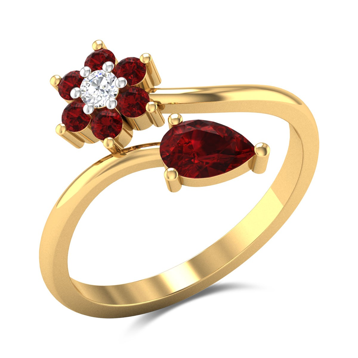 Ruby Flower and Bud Ring
