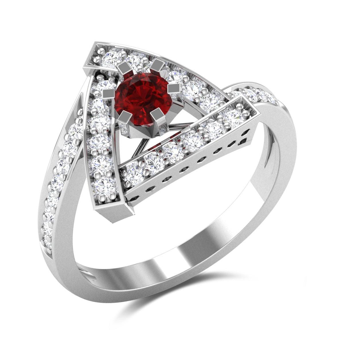 Guinivere Ruby Diamond Triangle Ring