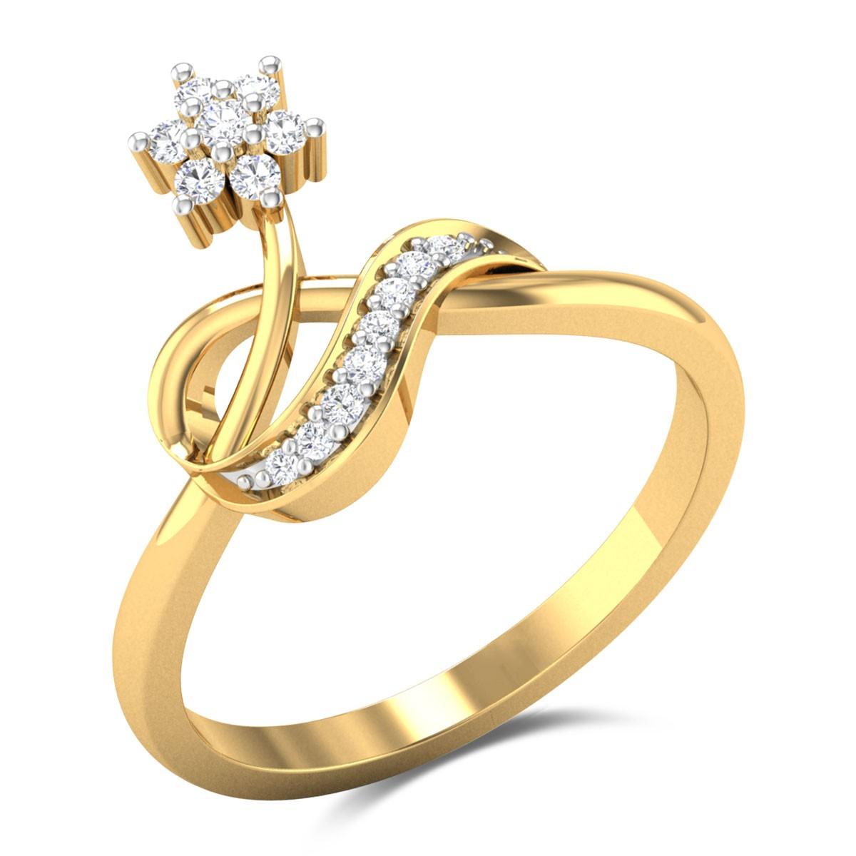 Leafy Floral Diamond Ring