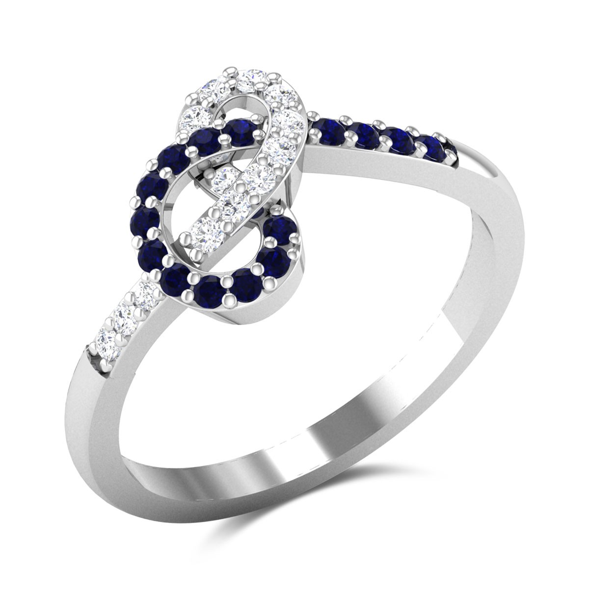 Abellone Sapphire and Diamond Knotted Ring