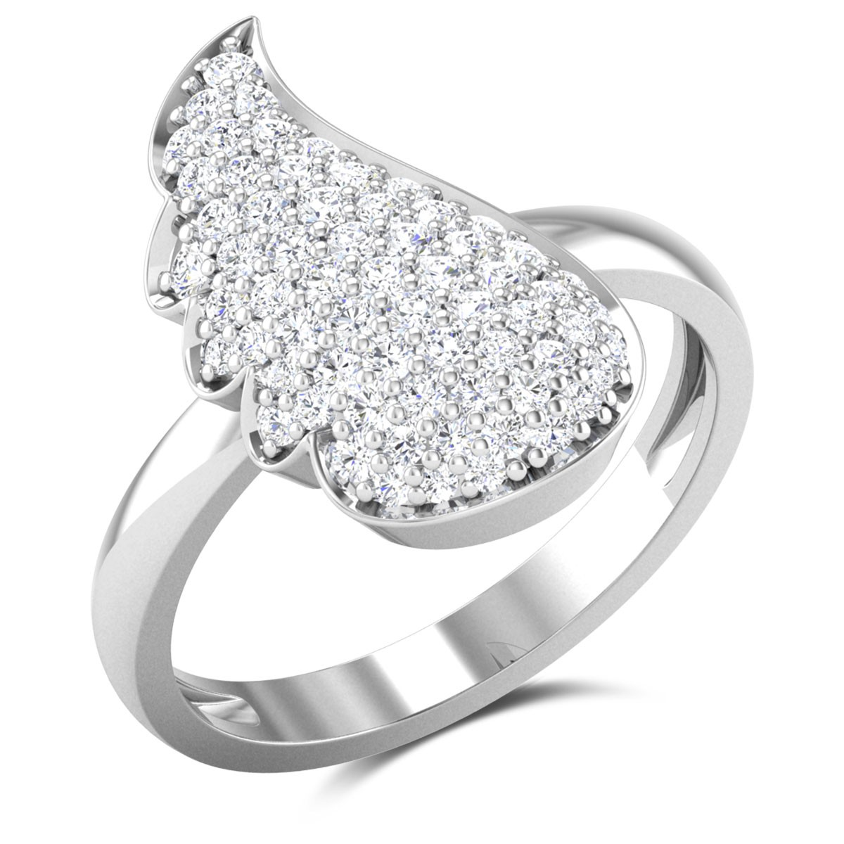 Coba Leafy Diamond Ring
