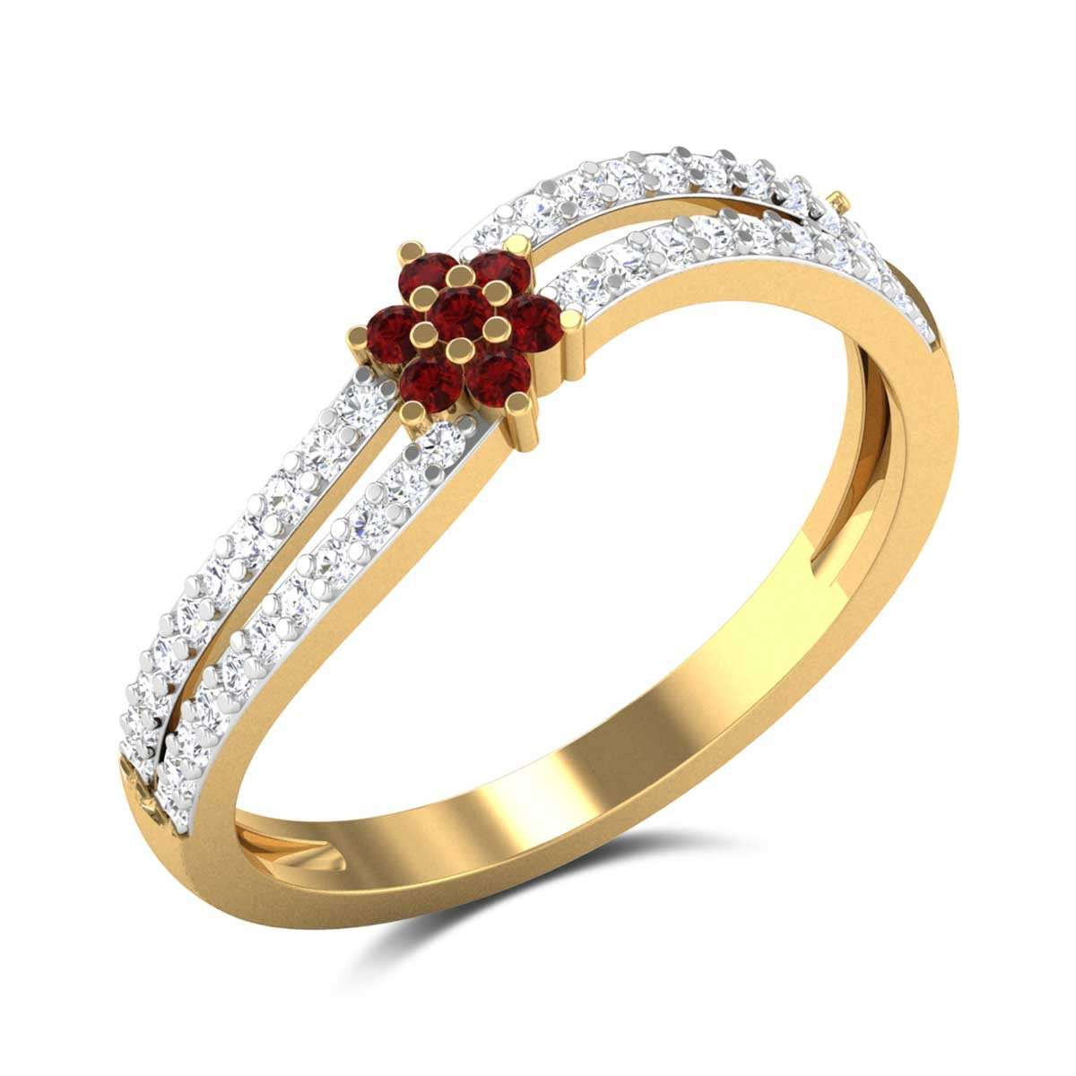 Ruby Floral Wavy Ring