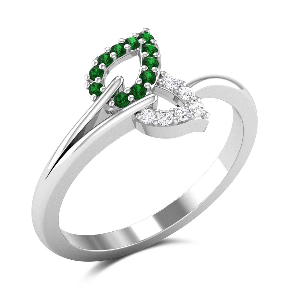Addiena Emerald Leafy Ring