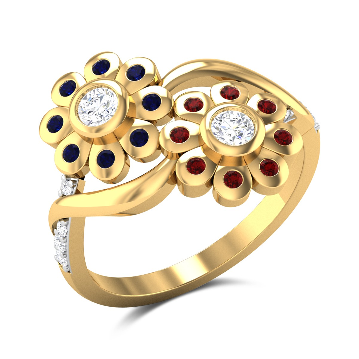 Aefre Dual Flower Ruby and Sapphire Ring