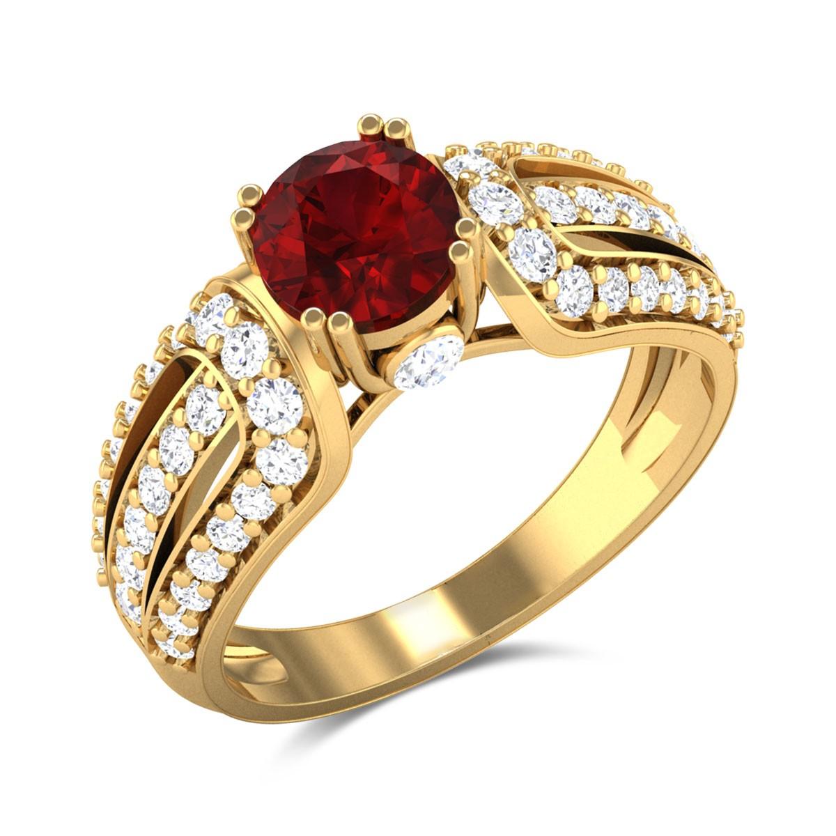 Baha Diamond and Ruby Ring