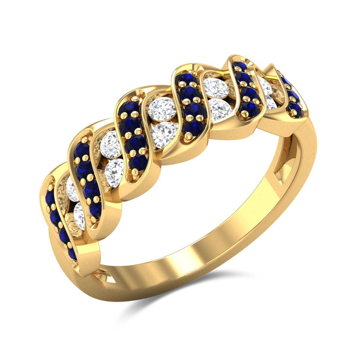 Bahjat Wavy Diamond and Sapphire Ring