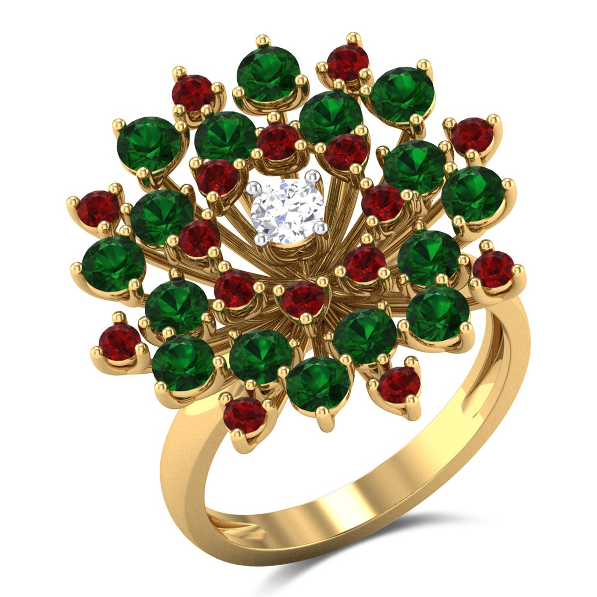 Ruby and Emerald Flower Bouquet Ring