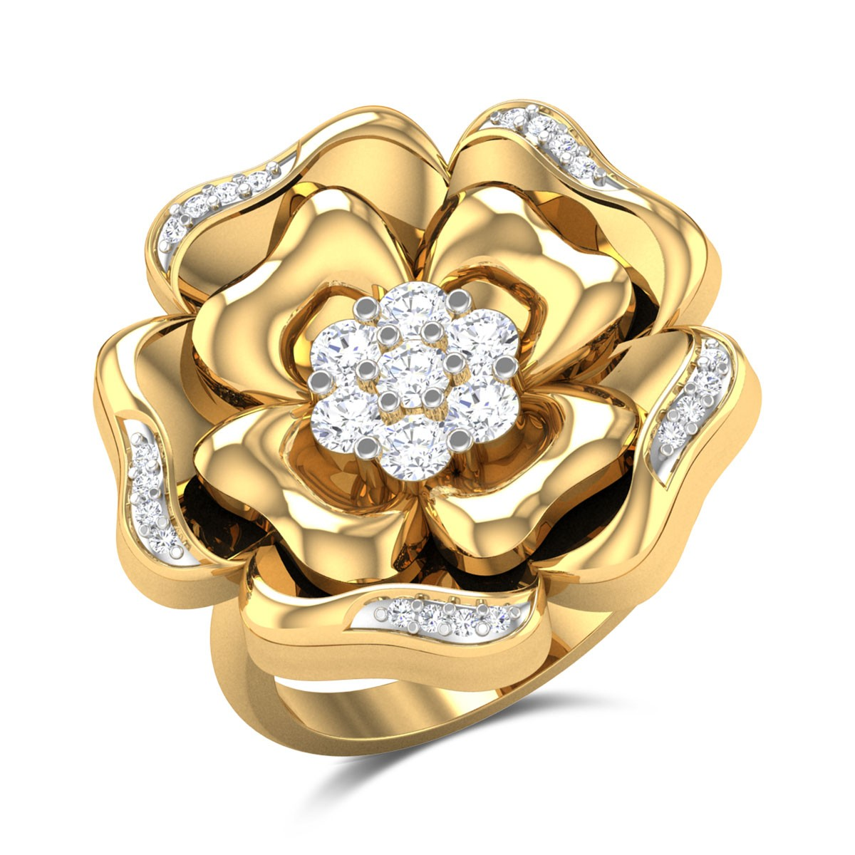 Rosy Rose Diamond Cocktail Ring