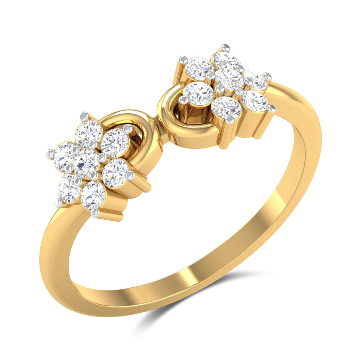 Meharbaan Twin Flower Diamond Ring