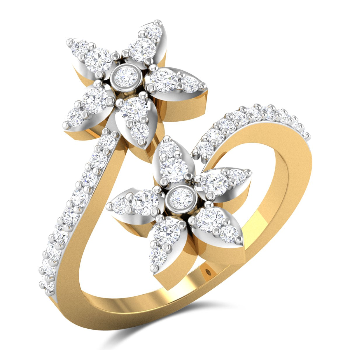 Mariano Floral Diamond Crossover Ring