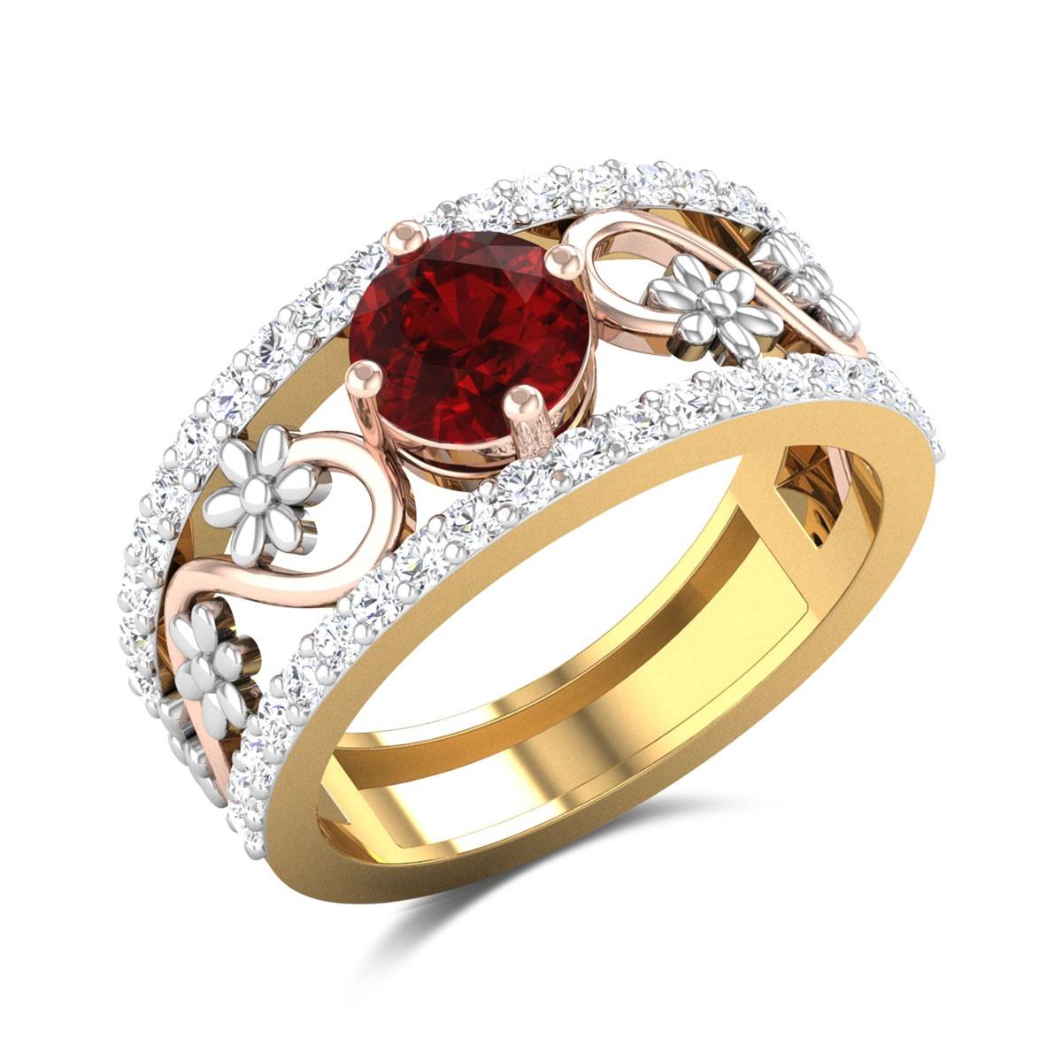 Idaia Diamond and Ruby Band Ring