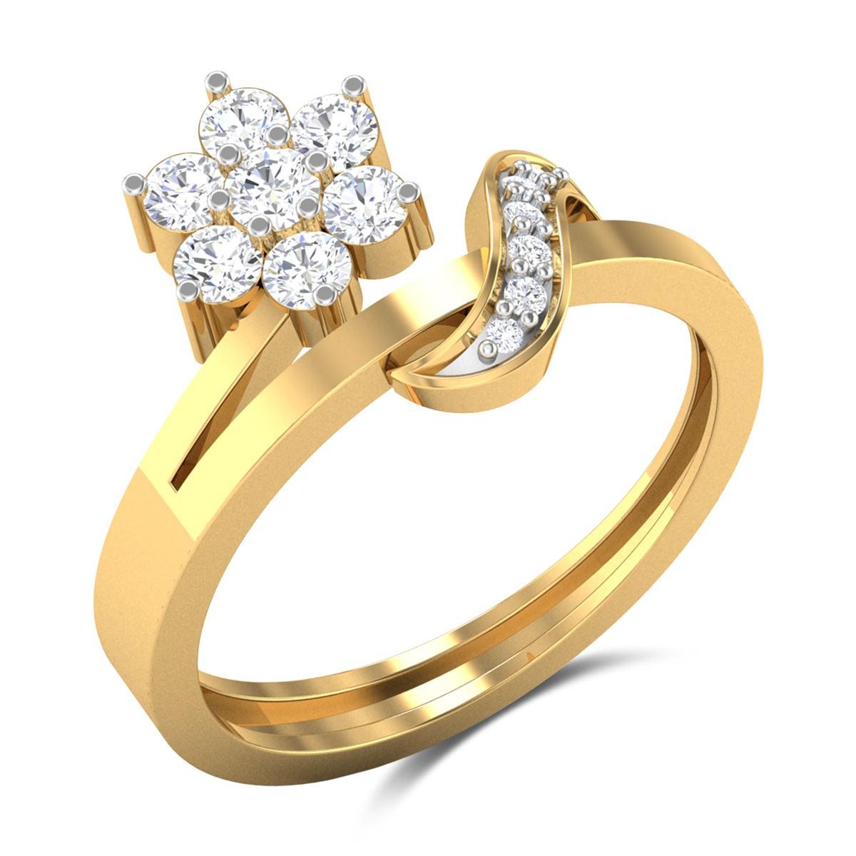 Della Split Band Floral Diamond Ring