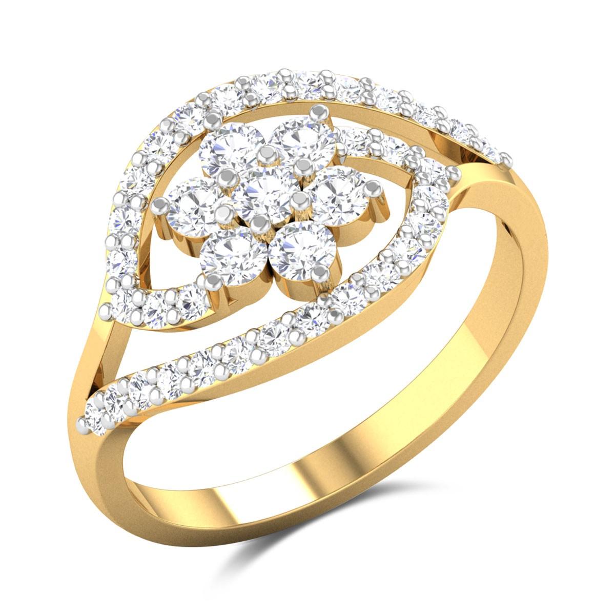 Emery Split Band Floral Diamond Ring