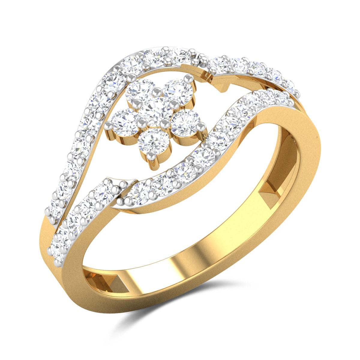 Annalise Split Band Floral Diamond Ring
