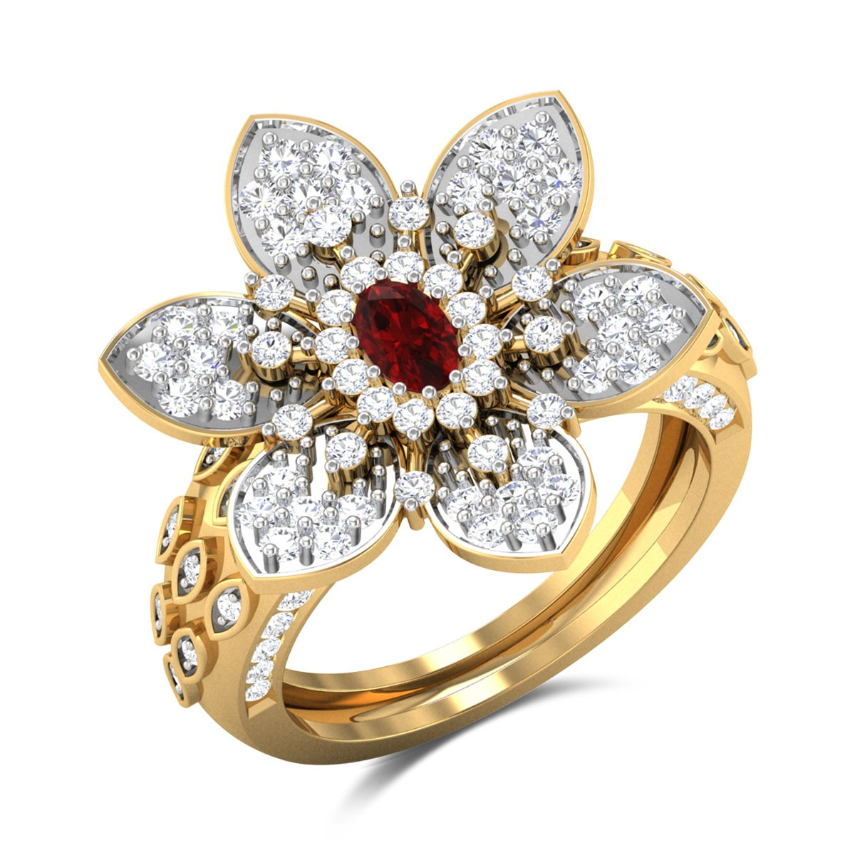 Gibson Diamond and Ruby Floral Ring