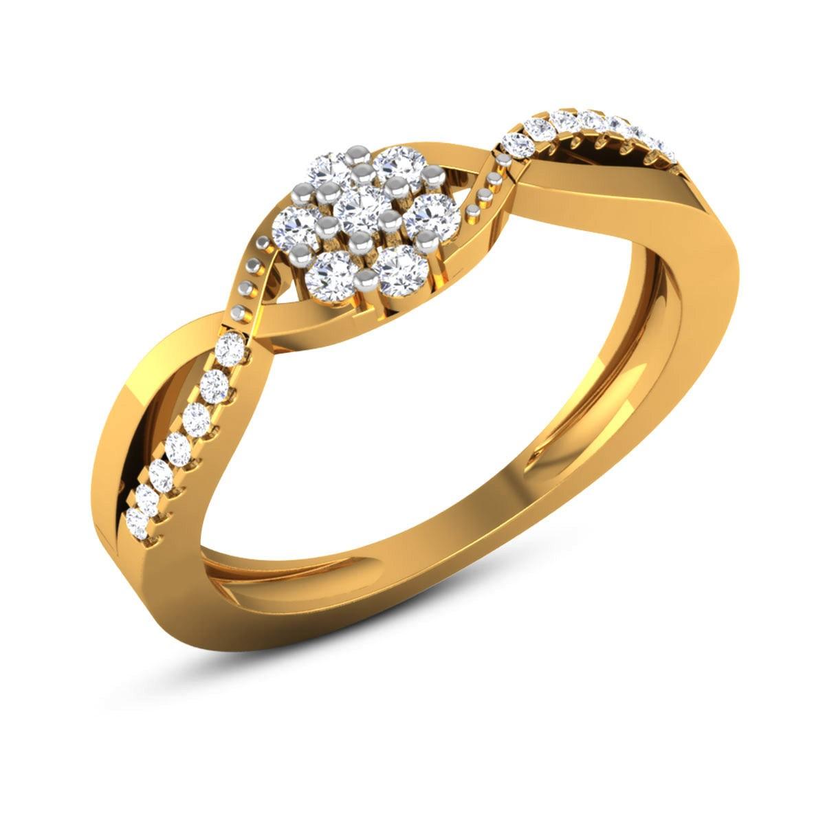 Oralie Wavy Diamond Floral Ring