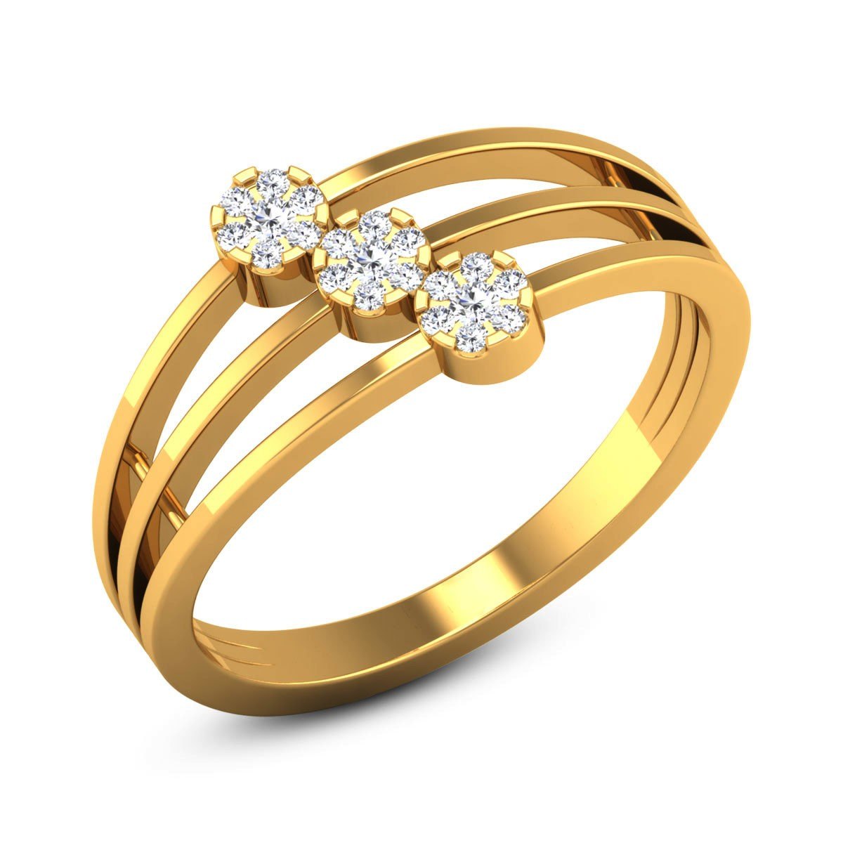 Three Layer Split Band Diamond Floral Ring