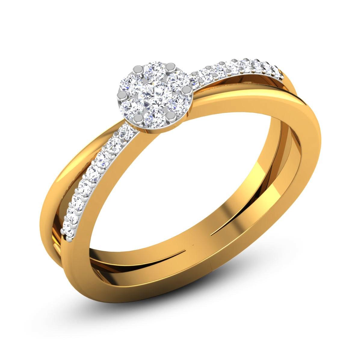 Aslesha Diamond Split Band Ring