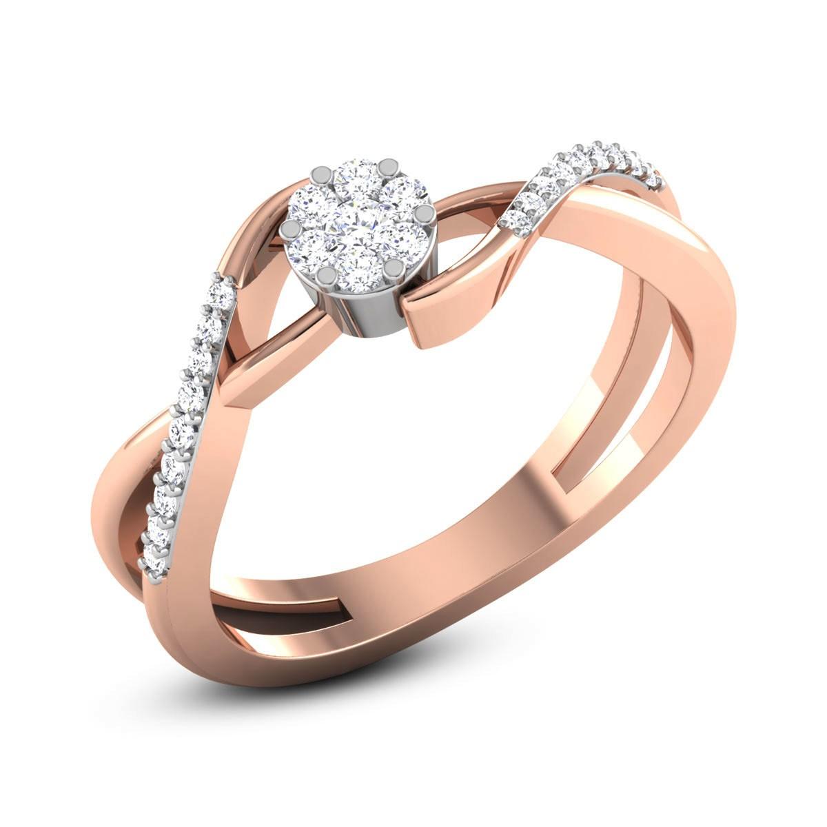 Vance Split Band Wavy Diamond Ring