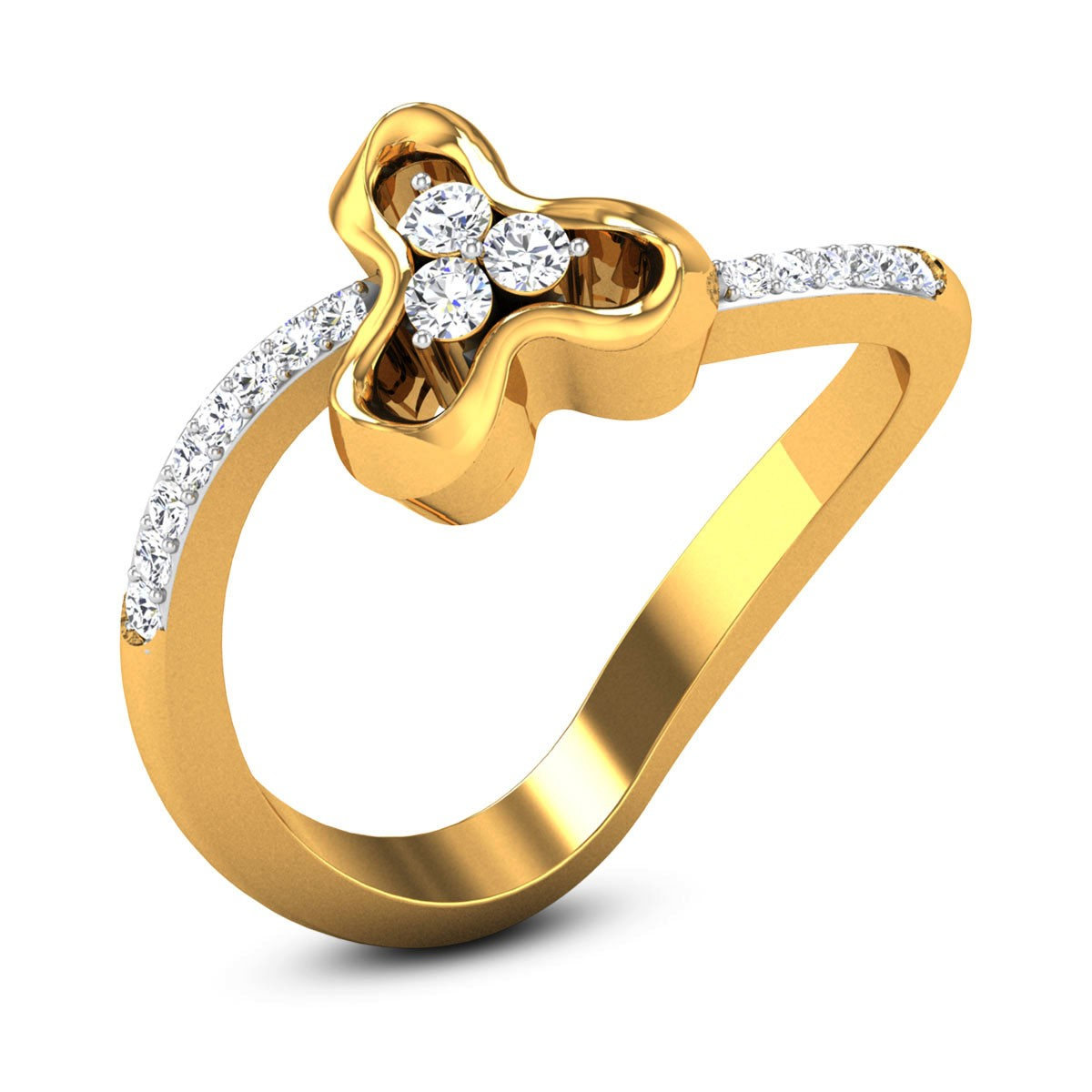Petrina Wavy Diamond Floral Ring