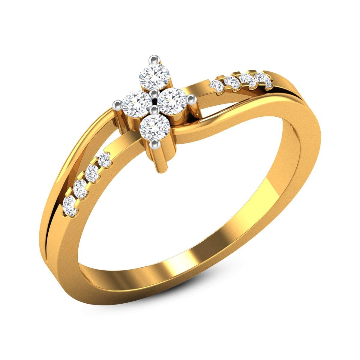 Bethzy Diamond Split Band Floral Ring