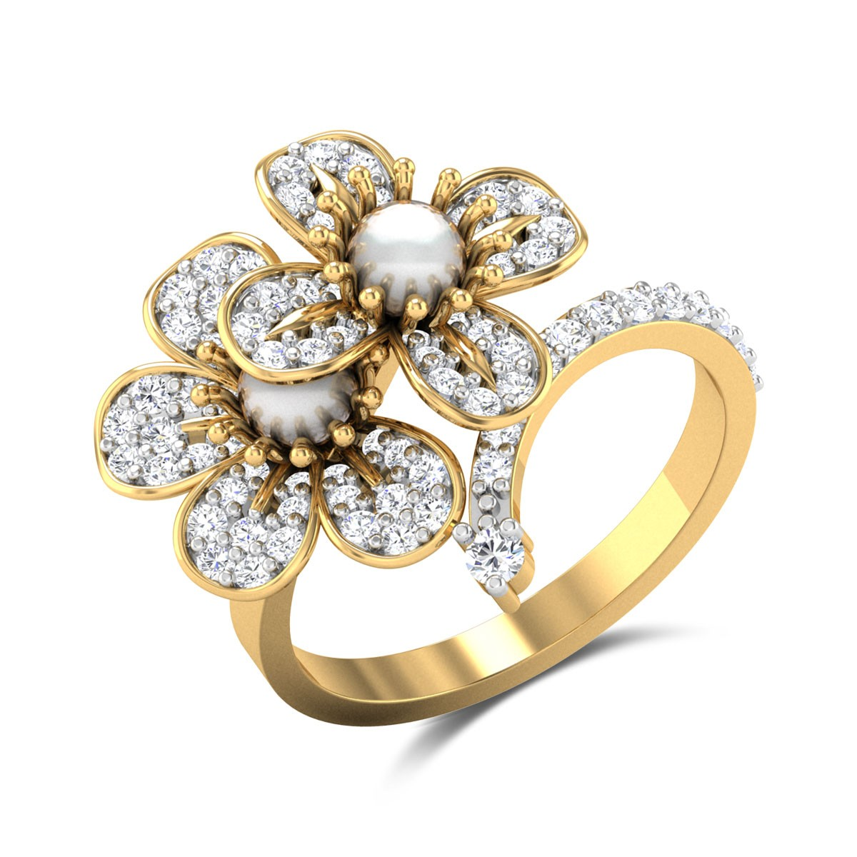 Eliseo Pearl Floral Cross Over Ring