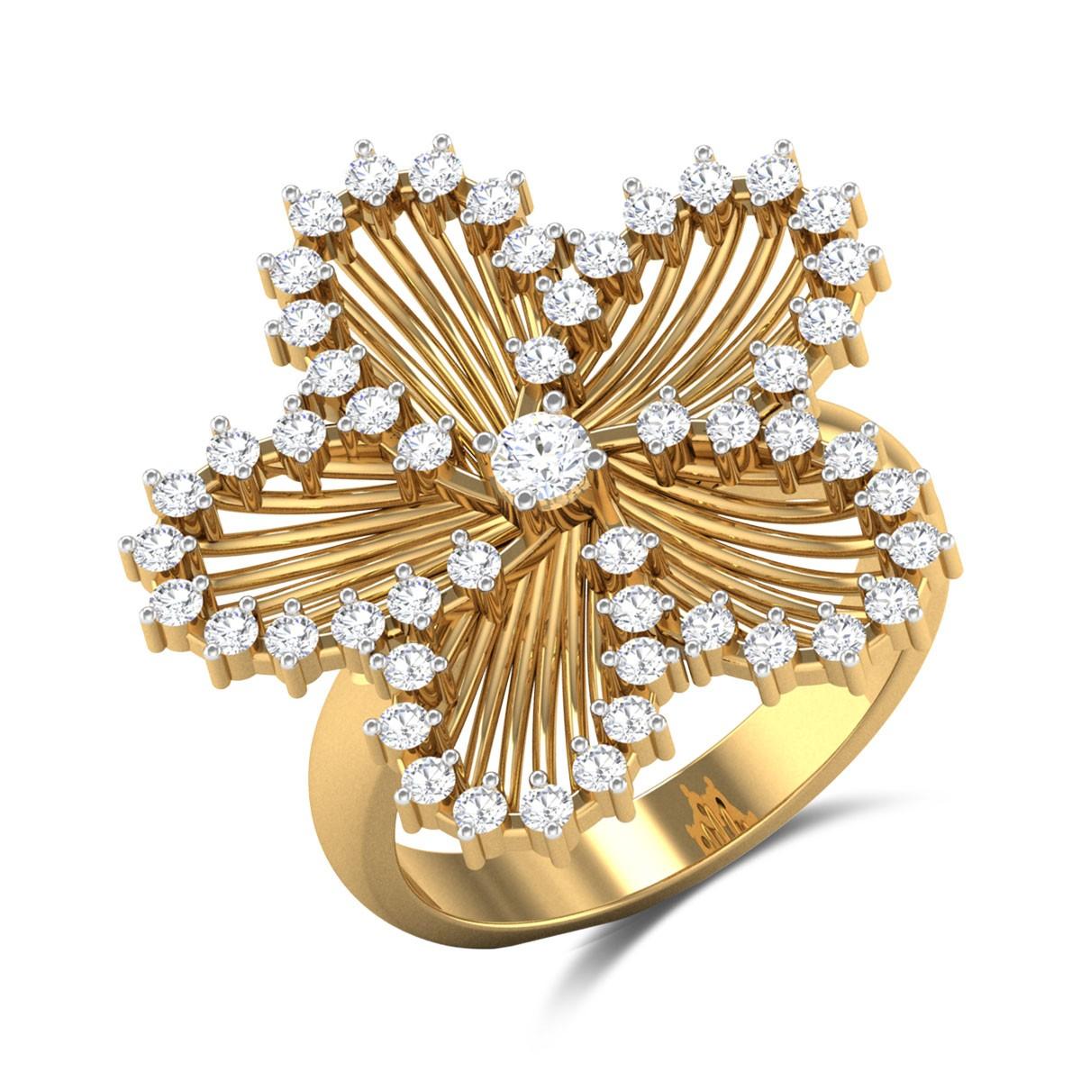 Sarosh Floral Diamond Cocktail Ring