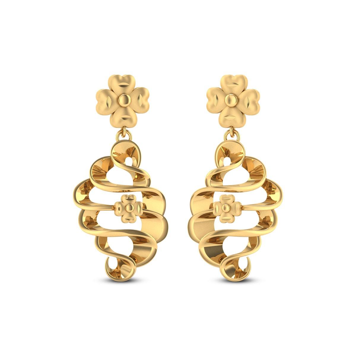 Buy Floral Twist 5.01 Gms Gold Earrings Online