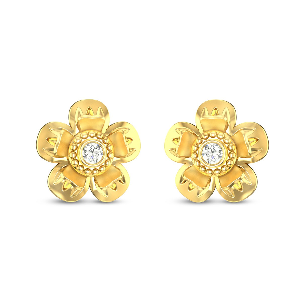 Buy Isis Flora 6.15 Gms Gold Stud Earrings Online