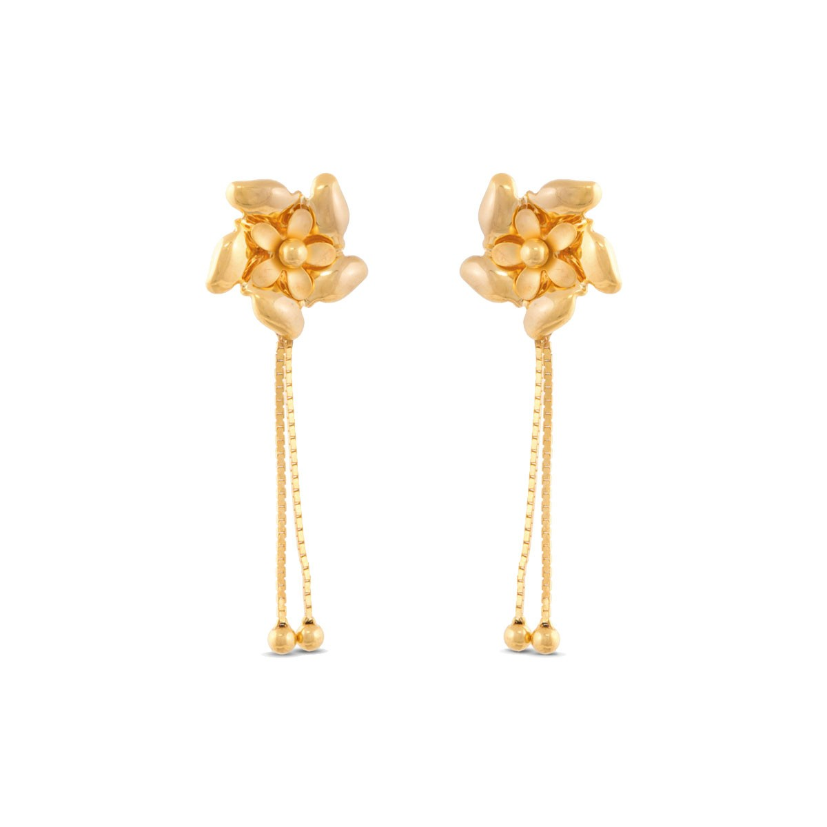 Coba Gold Flower Drop Hanging Earring