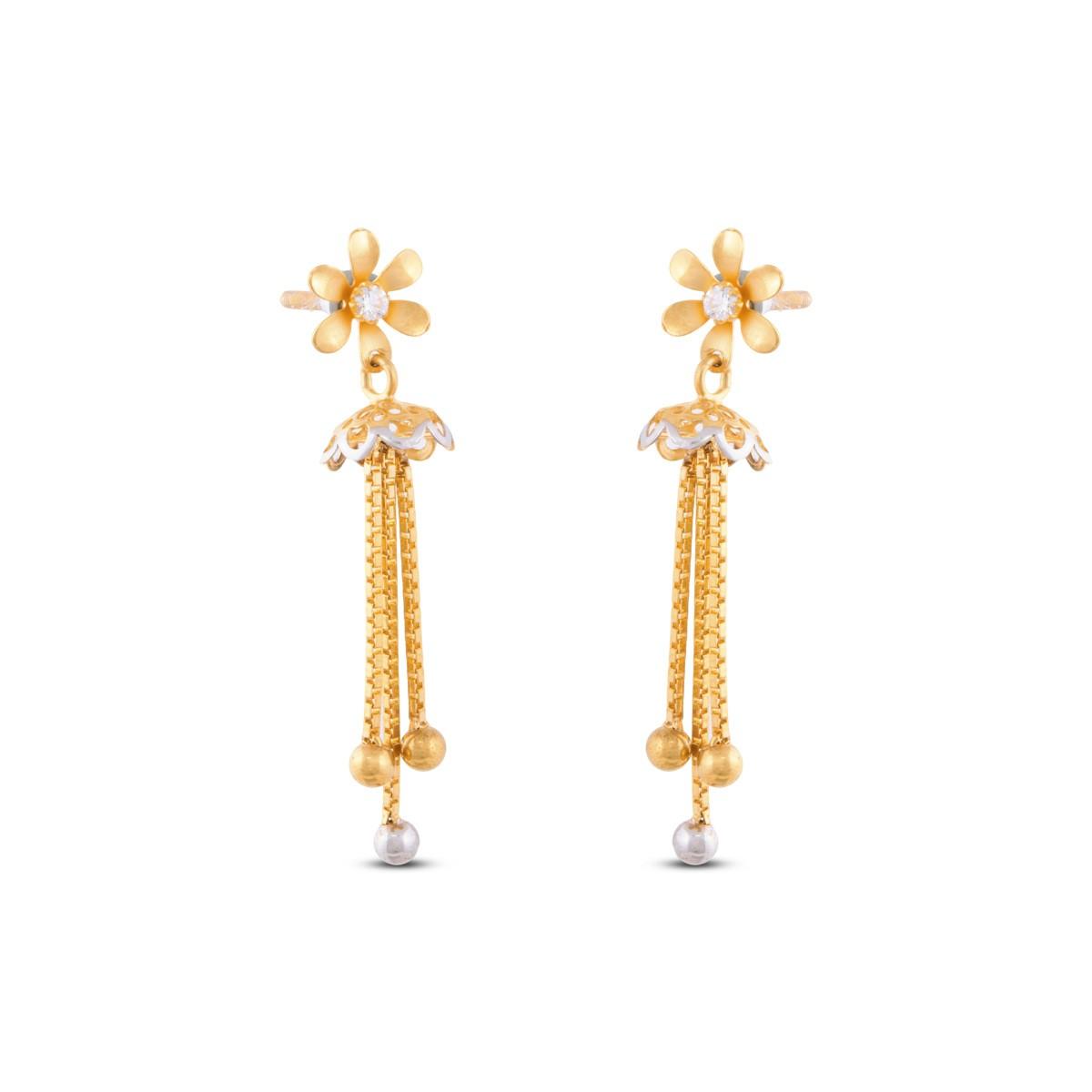 Partita Gold Flower Drop Hanging Earring