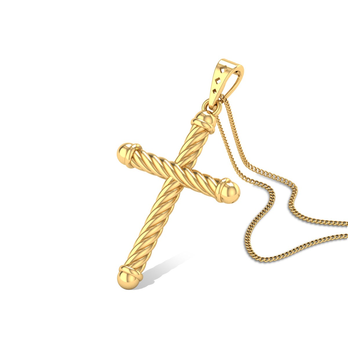 Braided Holy Cross Gold Pendant