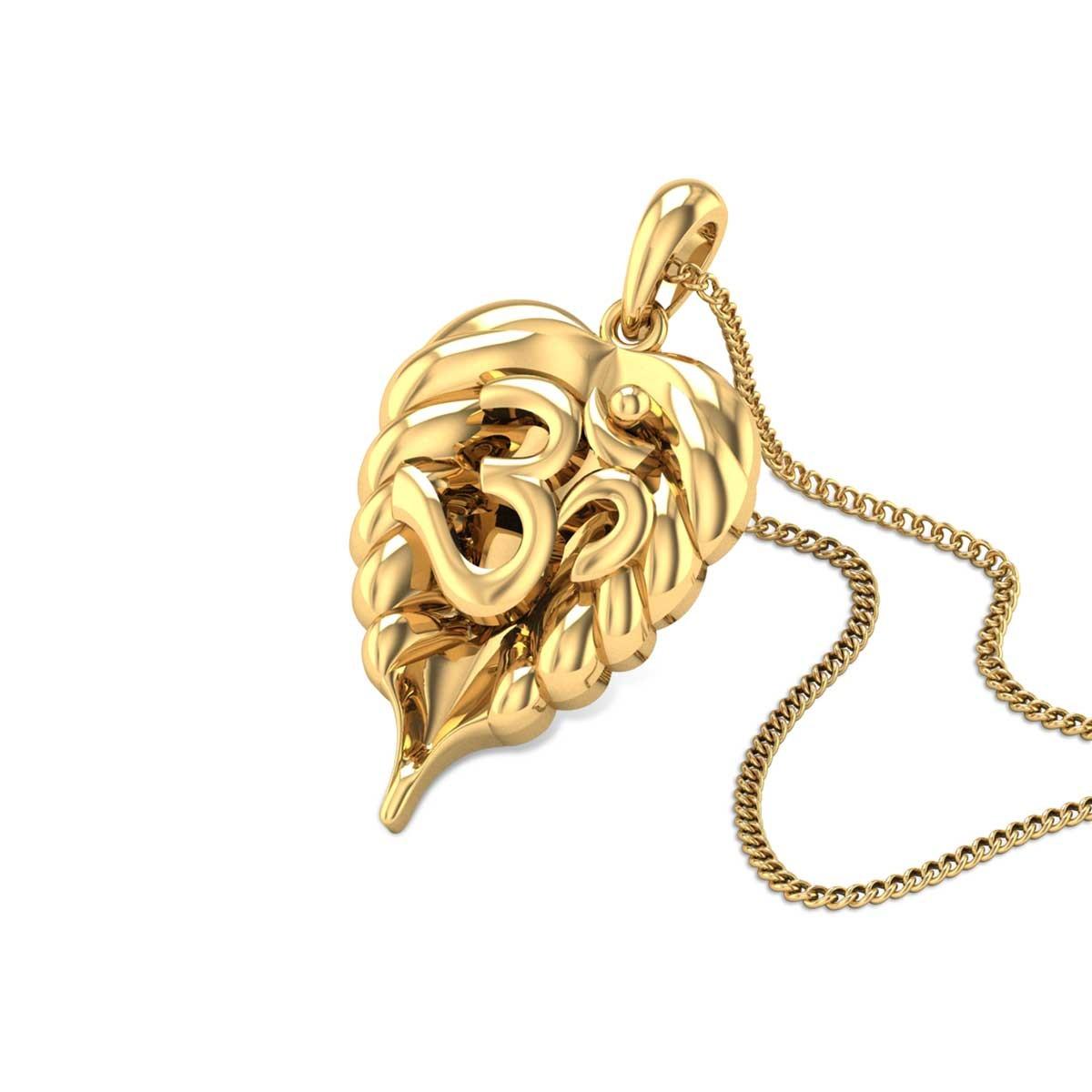 Leafy Aum Gold Pendant