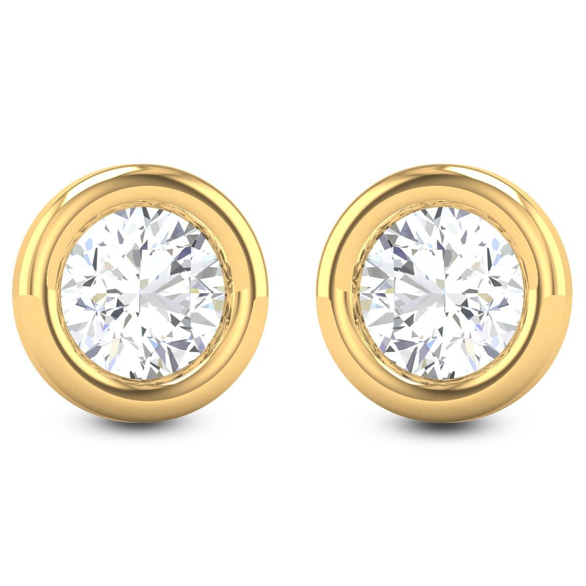 Aishmin Bezel Solitaire Stud Earrings