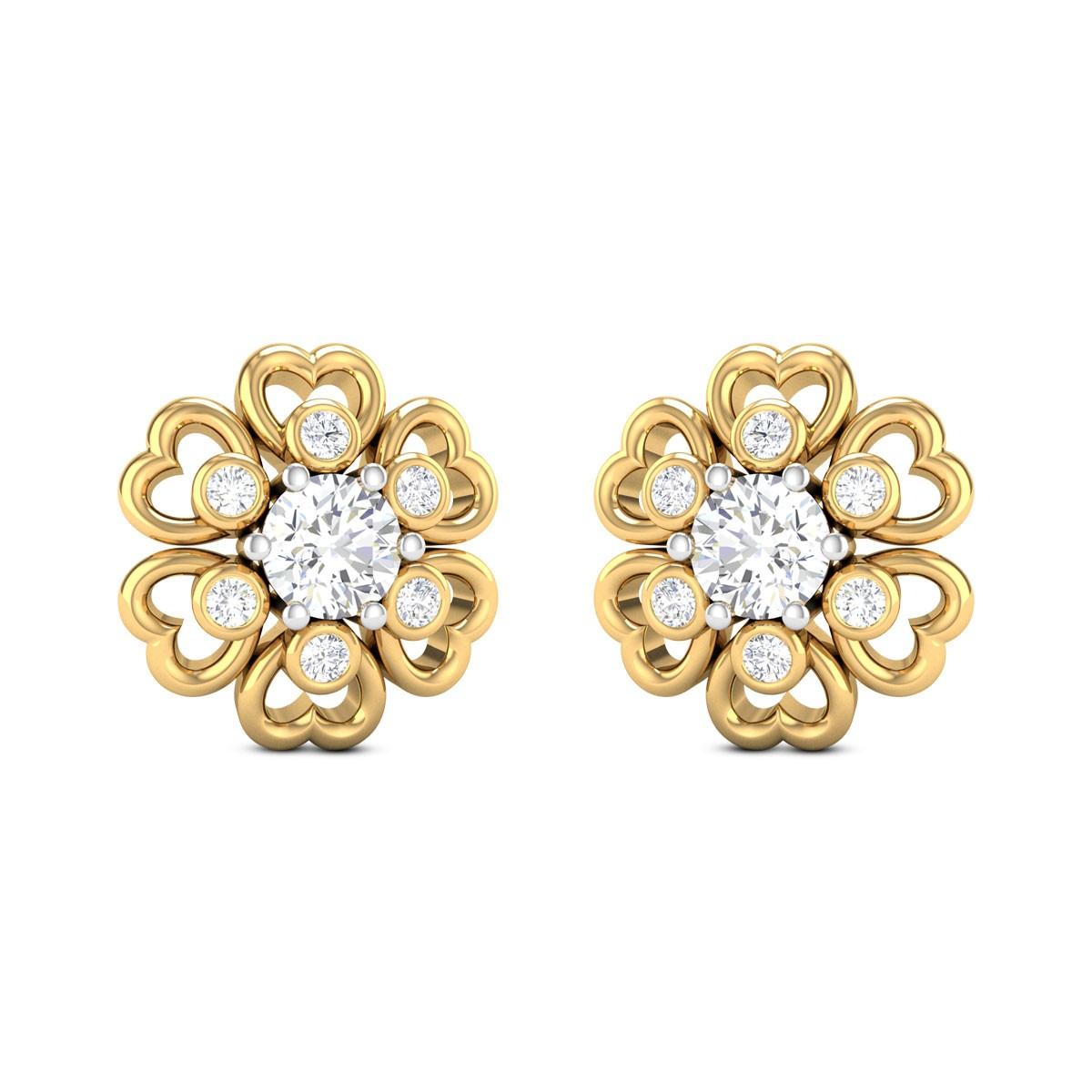 Avaneesh Floral Solitaire Stud Earrings